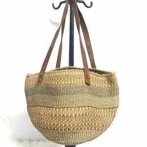 Handmade woven brown thick basket tote bag